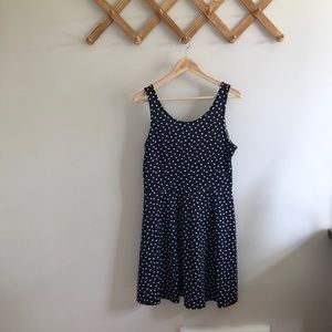 Vintage Polka Dot Navy Swing Dress